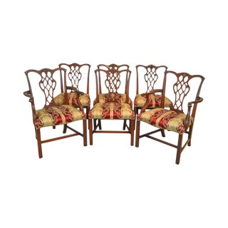 Baker 1940s Chippendale Style Carved Mahogany Set of 6 Dining Chairs