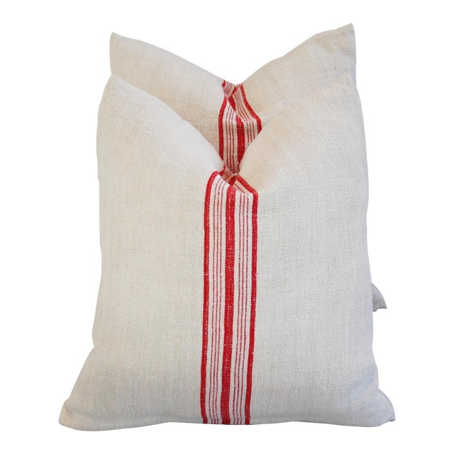 Red Stripe French Grain Sack Pillows - Pair - Image 1 of 11