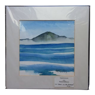 """2000s """"Maui in the Distance"""" Hawaiian Landscape Watercolor Painting by Wanda McManus For Sale"""