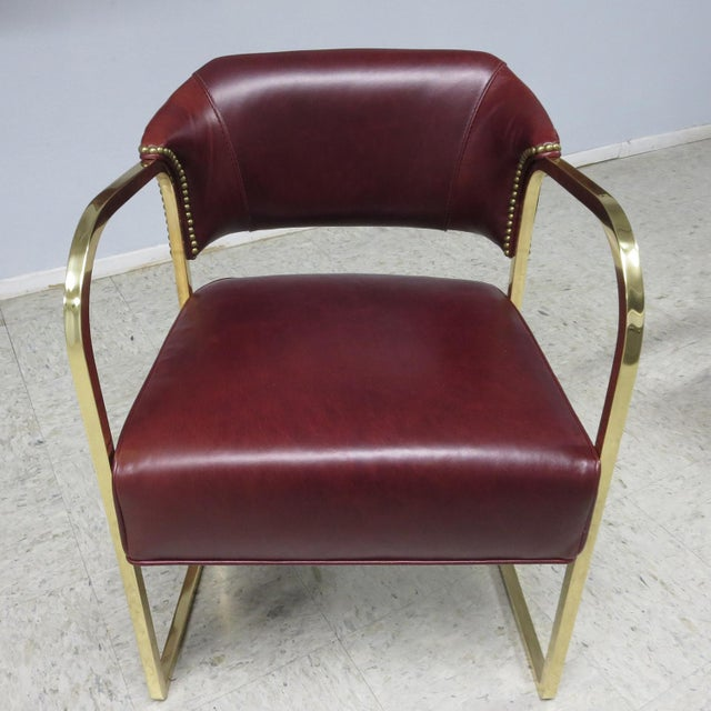 Art Deco - Mid Century Lounge Chairs – Polished Brass – Leather For Sale In Los Angeles - Image 6 of 9