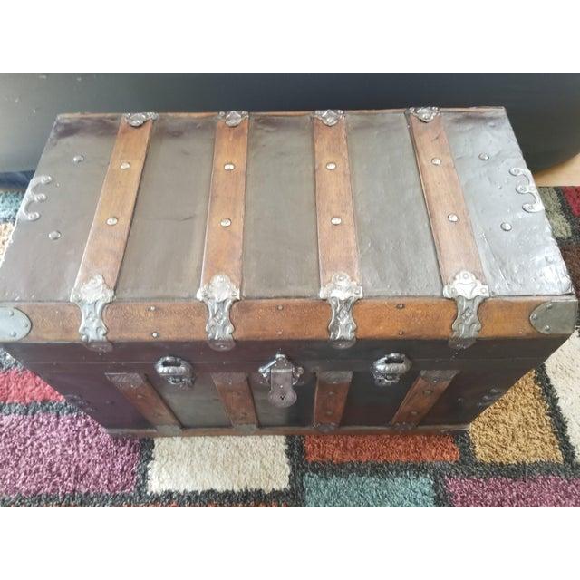 Antique Beveled Top, Wood Slatted Metal Trunk - Image 7 of 8
