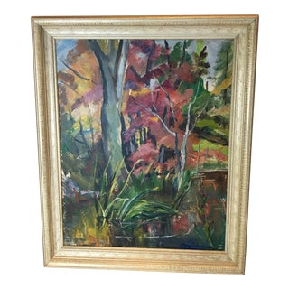 """1940s Vintage Mary Schneider """"Quite Nook in the Wild"""" Oil Painting For Sale"""