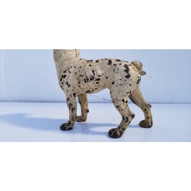 Figurative 1930s Vintage White Cast Iron Boston Terrier Dog Sculpture / Doorstop For Sale - Image 3 of 11