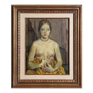 Moses Soyer, Seated Nude Posing, 1950 For Sale
