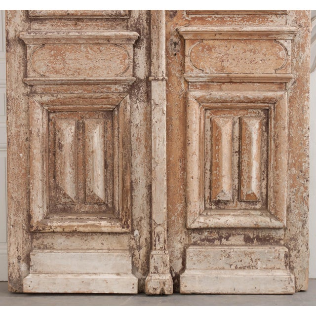 French Tall Pair of French Napoleon III-Style Early-20th Century Painted Pine and Wrought-Iron Exterior Entrance Doors For Sale - Image 3 of 11