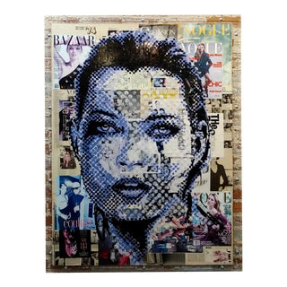 Portrait of Kate Moss -Graffiti Magazine Collage-Pop Art Painting For Sale
