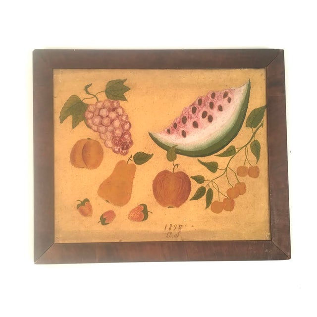 An American Folk Art still life painting of fruit, oil on canvas, signed in script A.S. 1895, depicting a free floating...