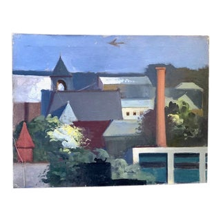 Mid Century Wpa Style City Scape Painting For Sale