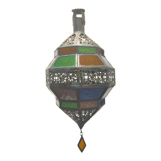 1980s Handcrafted Moroccan Metal and Multi-Color Glass Octagonal Diamond Shape Lantern For Sale