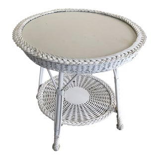 1950s Boho Chic White Round Wicker Side Table With Glass