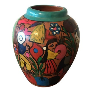 Vintage Mexican Hand Painted Pottery Vase For Sale