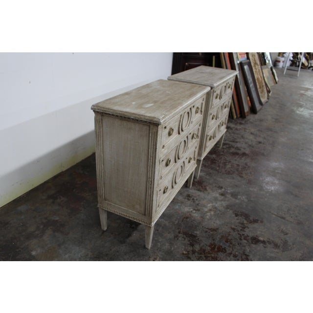 Vintage Gustavian nightstands made of solid oak wood and feature three spacious drawers and block legs. Beautiful dentil...