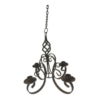 Wrought Iron Candle Chandelier For Sale