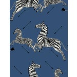 Sample, Scalamandre Zebras, Denim Wallpaper