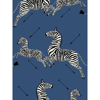 Sample, Scalamandre Zebras, Denim Wallpaper For Sale