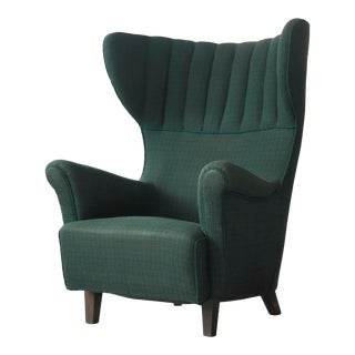 Danish 1950s Classic Flemming Lassen Style High Wing Back Lounge Chair For Sale