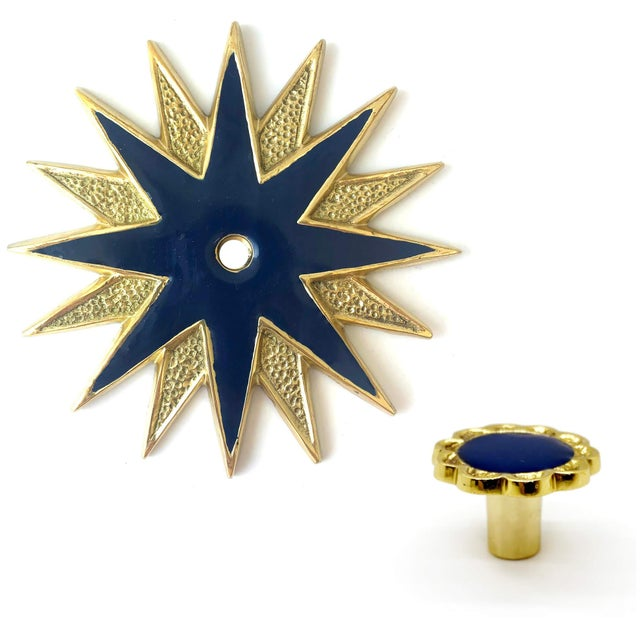Boho Chic Addison Weeks Michelle Nussbaumer Large Star Backplate & Enamel Knob, Brass & Navy - a Pair For Sale - Image 3 of 5
