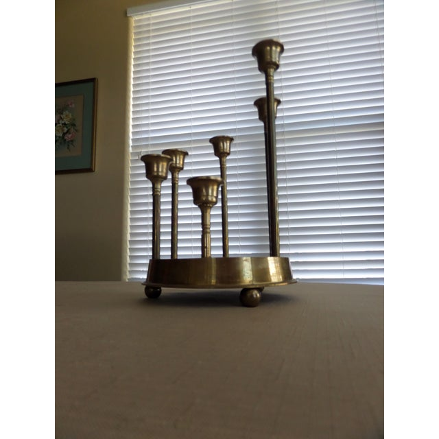 Gold Solid Brass Tulip Shape on a Circular Mirrored Footed Platform For Sale - Image 8 of 8