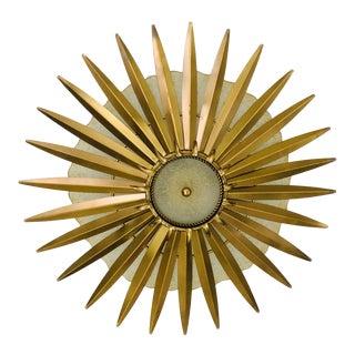 Sunburst Gold Vintage Semi Flush Light Fixture