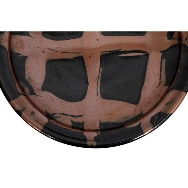 Black Large Modernist Japanese Ceramic Charger For Sale - Image 8 of 13