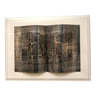 """American Artist, Sica, Title """"Yesterdays Paper,"""" Framed in Lucite, circa 2004 For Sale"""