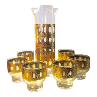 Vintage Culver Pisa Gold Crackle Cocktail Pitcher & Footed Glasses Bar Set - 7 Pc. Set For Sale