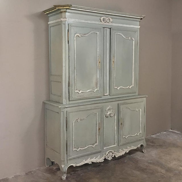 18th Century Country French Provincial Painted Buffet a Deux Corps was considered essential to any well-appointed home, as...