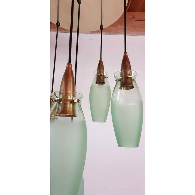 Italian Mid-Century Modern Brass & Glass Flush Mount, Arredoluce For Sale - Image 10 of 13