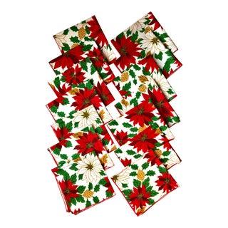 Traditional Pointsettia Cotton Napkins- Set of 14 For Sale