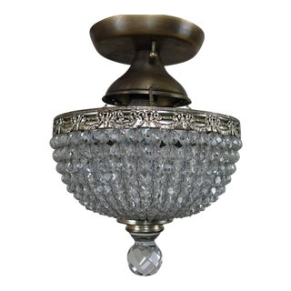 French Brass and Crystal Beaded Platfonier, Circa 1940 For Sale