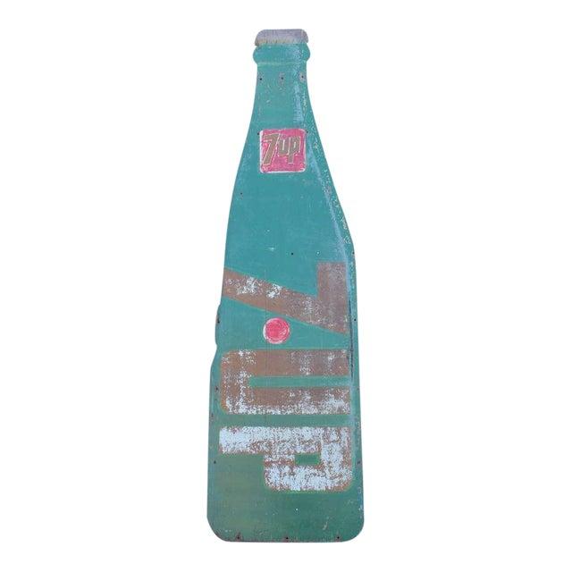 """1960's Vintage Masonite"""" 7 UP Bottle"""" Sign For Sale"""