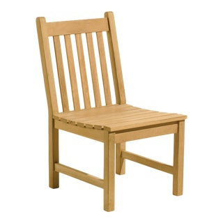 Classic Wooden Outdoor Side Chair, Natural Shorea For Sale