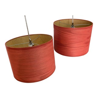 Red Drum Pendant Lamp Shades - a Pair For Sale