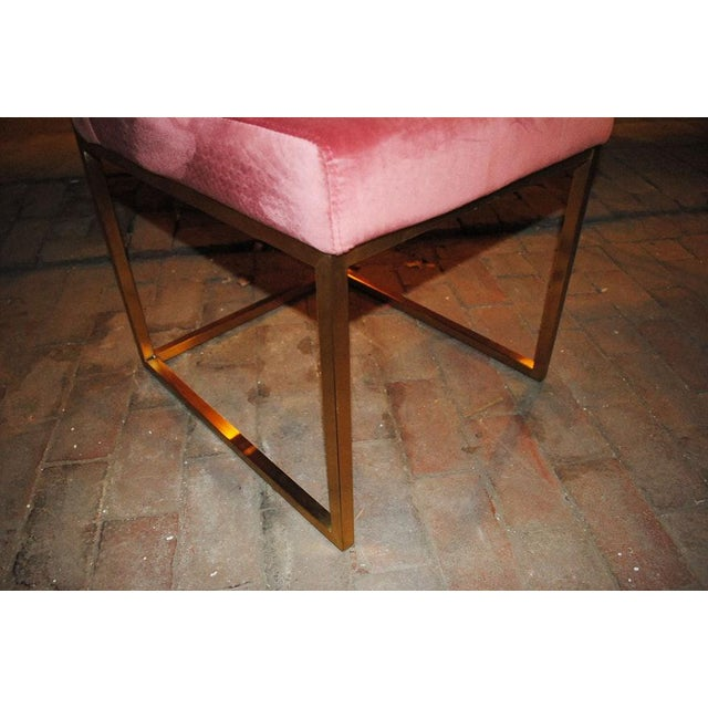 Brass Hollywood Regency Pink Rose Velvet Brass Dining Chairs- Set of 6 For Sale - Image 7 of 10