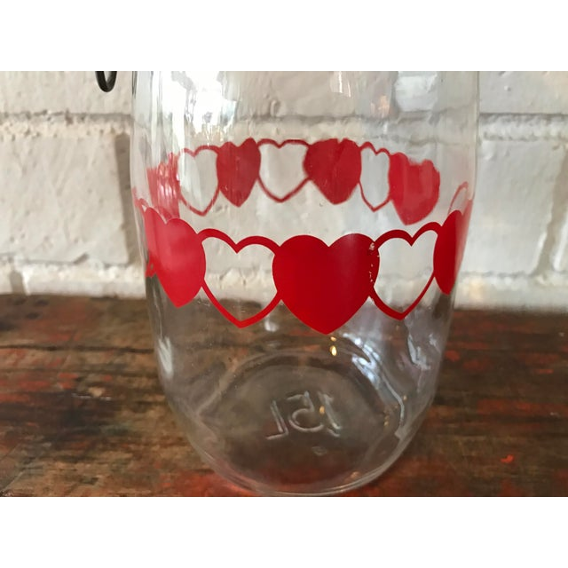 Vintage Glass Canister Jar W/ Hearts For Sale - Image 4 of 9