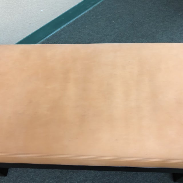 Brown Custom Modern Coach Leather Top Bench For Sale - Image 8 of 12