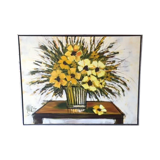 Mid Century Still Life Floral Oil Painting - Image 1 of 4
