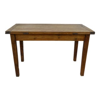 Antique Pine FarmTable With Extensions For Sale