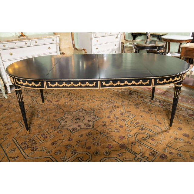 Maison Jansen Ebonized Dining Table W. Letter of Authentication. For Sale In New York - Image 6 of 10