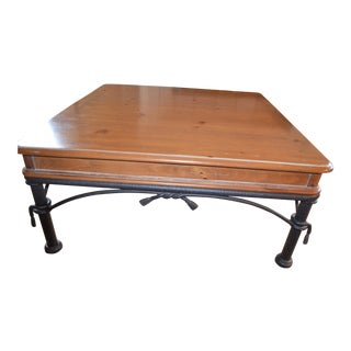 1990s Traditional Square Solid Pine Coffee Table For Sale
