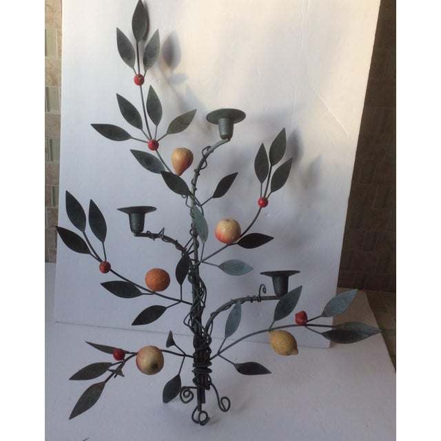 Painted Tole Candle Wall Sconce With Fruits - Image 9 of 11