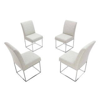 Set of Four Milo Baughman Mid Century Modern Chrome Dining Chairs New Upholstery