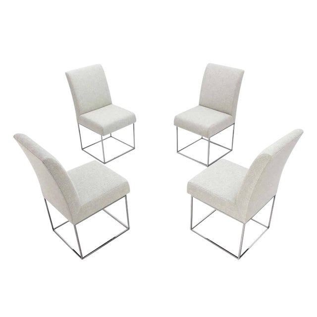 Set of Four Milo Baughman Mid Century Modern Chrome Dining Chairs New Upholstery For Sale