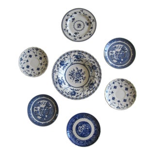 Blue & White Transfer-Ware Plates- 7 Pieces For Sale