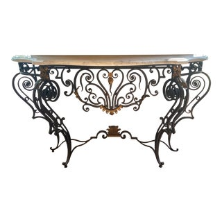 Early 20th Century French Iron and Marble Console Table For Sale