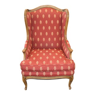 Baker Queen Anne Red Print Upholstered Wingback Chair For Sale