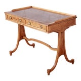 Image of Baker Furniture Regency Burl Wood and Walnut Sofa Table or Writing Desk For Sale