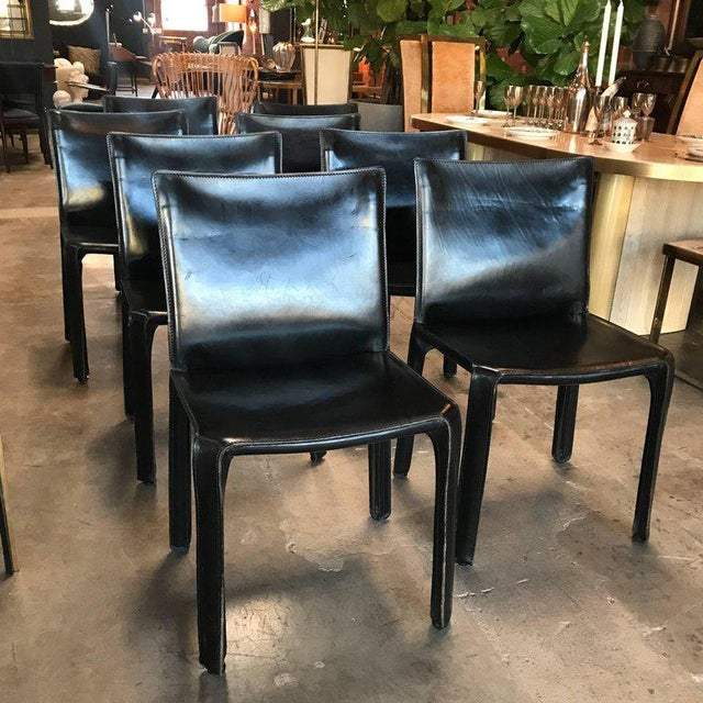Cassina chairs, model cab nr. 412 by Mario Bellini in black leather. Set of eight. The cab chair was conceived by the...
