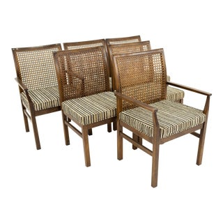 Lane Mid Century Cane Backed Walnut Dining Chairs - Set of 6 For Sale