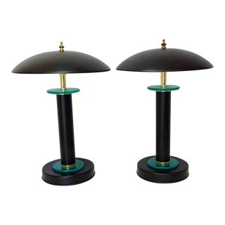 Late 20th Century Postmodern Flying Saucer Black Metal Green Glass Lacquered Brass Touch Sensor Desk Table Lamps - a Pair For Sale